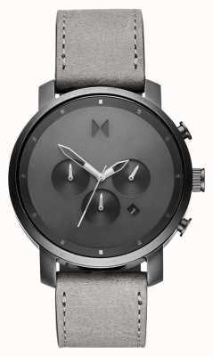 MVMT Chrono 45mm einfarbig | graues Lederband | graues Zifferblatt D-MC01-BBLGR