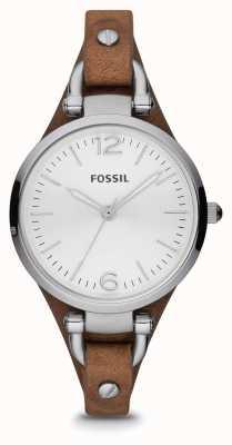 Fossil Damen braunem Leder Edelstahluhr ES3060