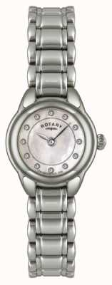Rotary Damen Stein gemeißelt Edelstahluhr LB02601/07
