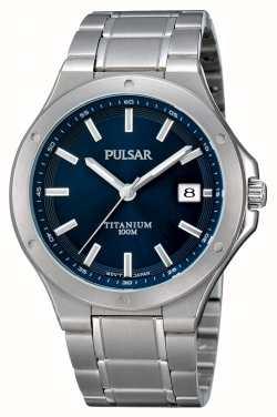 Pulsar Mens Titan Blue Dial Datum Display Uhr PS9123X1