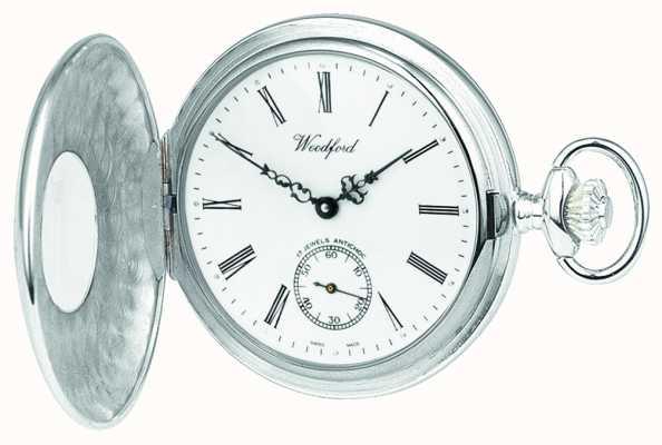 Woodford Sterling Silber, offenen Fall, weißes Zifferblatt, mechanische Taschenuhr 1068