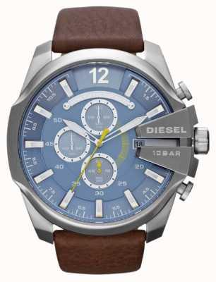 Diesel Mens mega Chef blaues Zifferblatt braunes Lederarmband Chronograph DZ4281