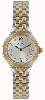 Rotary Damen mit zwei Tönen Uhr mit Stein gemeißelt LB02762/59