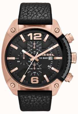 Diesel Mens Überlauf Rose-gold schwarzes Zifferblatt schwarz Lederband Uhr DZ4297