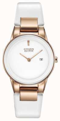 Citizen Ladies 'Axiom, Gold-Platte, weißer Keramik, Lederband Uhr GA1053-01A