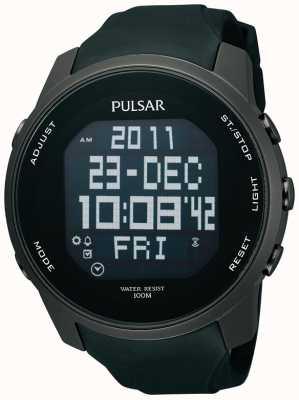 Pulsar Mens Digital Ion überzogenem Stahl schwarzes Kautschukband Uhr PQ2011X1