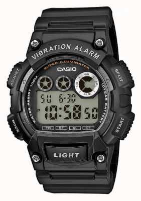 Casio Mens schwarz Resinarmband Vibrationsalarm Uhr W-735H-1AVEF