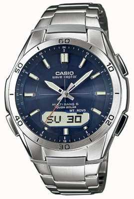 Casio Mens Welle ceptor blaues Zifferblatt Edelstahl-Uhr WVA-M640D-2AER