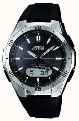 Casio Mens Welle ceptor schwarzes Kautschukband Edelstahl-Uhr WVA-M640-1AER