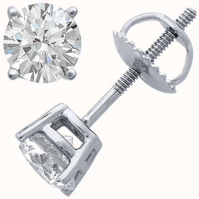 Certified Diamond Ohrringe, vier Krallen 0.66ct h si, Schraubboden Armaturen C66PT-4CLAW-HSI