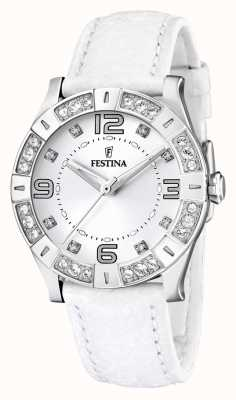 Festina Damen Edelstahl, Kristallbesatz, weiß F16537/1 Armbanduhr