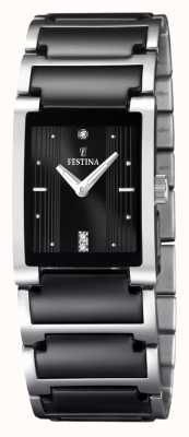 Festina Damen schwarz Keramik, Edelstahl, F16536/2 Armbanduhr