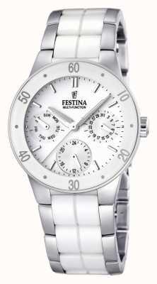 Festina Ladies 'weißer Keramik und Edelstahl, Multi-Zifferblatt Uhr F16530/1