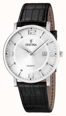 Festina Mens-Edelstahl-Armband aus schwarzem Leder Uhr F16476/3
