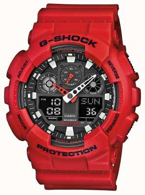 Casio Mens rote Harz Multifunktionsuhr GA-100B-4AER