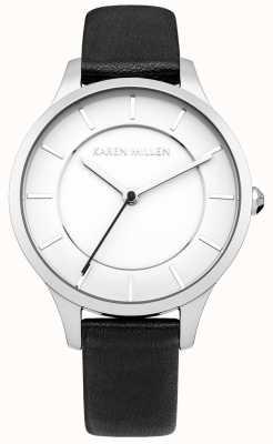 Karen Millen Für Frauen schwarz ionen überzogenem Stahl Lederband Uhr KM133BA
