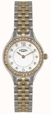Rotary Damen Gold vergoldet analoge Uhr des Quarzes LB02868/01