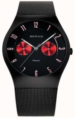 Bering Herren Titan schwarz rot Akzent Mesh Bügeluhr 11939-229