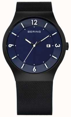 Bering Herren solarbetrieben | schwarzes keramik mesh armband | 14440-227