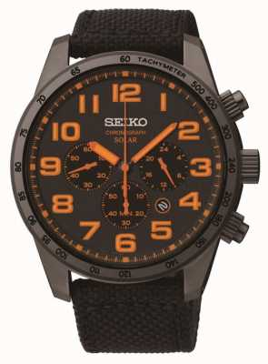 Seiko Mens schwarz ip Stahl Orange Detail Leinwand Bügeluhr SSC233P9