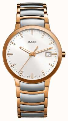 Rado Centrix zweifarbige Edelstahluhr mit weißem Zifferblatt R30554103