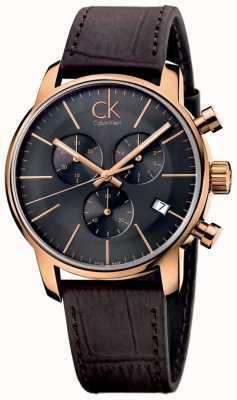 Calvin Klein Herren Roségold schwarzes Zifferblatt braun Lederstadt Chronograph K2G276G3