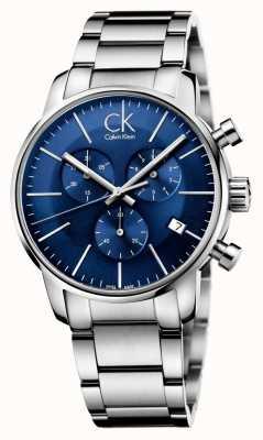Calvin Klein Herren Edelstahl Zifferblatt blau Stadt Chronograph K2G2714N