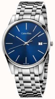 Calvin Klein Mens Zeit blaue silberne Uhr K4N2114N