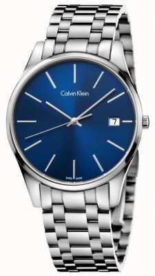 Calvin Klein Mens time blau silberne Uhr Datum K4N2114N