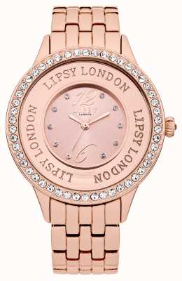 Lipsy Womens Rose Ton Armband Uhr mit Rose Ton Kristall gesetzt LP140
