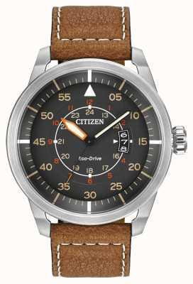 Citizen | herren eco-drive avion wr100 | braunes Lederband | AW1361-10H