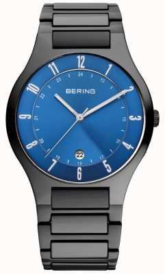 Bering Herren schwarzes Titan, blaue Zifferblatt Uhr 11739-727