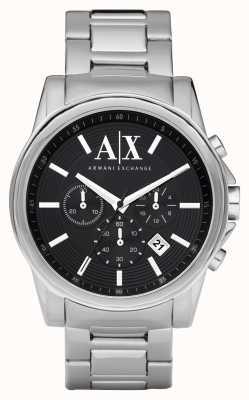 Armani Exchange Mens Smart Edelstahl-Chronograph schwarzes Zifferblatt AX2084