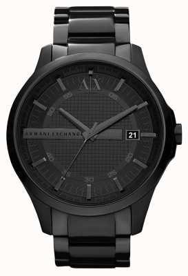 Armani Exchange Mens smart schwarz PVD beschichtet Edelstahl AX2104