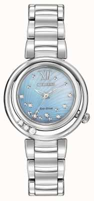 Citizen Eco-drive sunrise l Damen Diamant blau Zifferblatt EM0320-59D