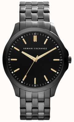 Armani Exchange Mens Smart IP schwarzes Zifferblatt goldenen Akzenten überzogen AX2144