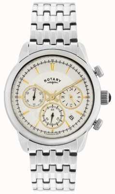 Rotary Herren Silber Silber analoge Uhr des Quarzes GB02876/02