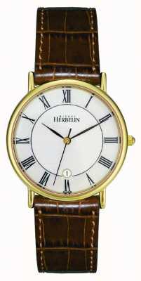 Michel Herbelin Mens PVD vergoldet Uhren, braunes Leder 12443/P08GO