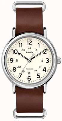 Timex Originals Weekender braunes Lederarmband T2P495
