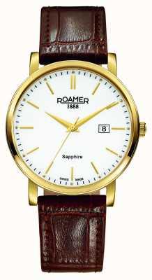 Roamer Klassische Linie | braunes Lederband | weißes Zifferblatt 709856-48-25-07