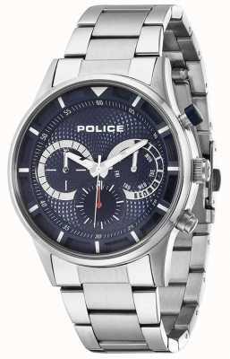 Police Mens Fahrer Edelstahl blaues Zifferblatt 14383JS/03M