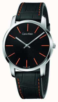 Calvin Klein Gents Stadt schwarzes Lederband Zifferblatt schwarz K2G211C1