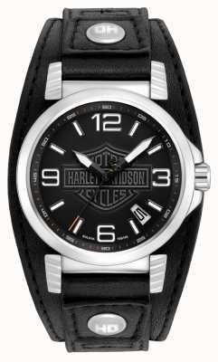 Harley Davidson Mens-Edelstahl-Datum-Uhr 76B163