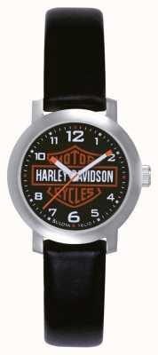 Harley Davidson Ladies schwarzes Lederarmband Uhr 76L10