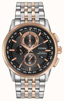 Citizen Mens Eco-Drive Welt Chrono Stahl & Rotgold AT8116-57E