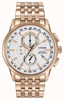 Citizen Menseco Antriebs Welt Chrono in Roségold Ton AT8113-55A