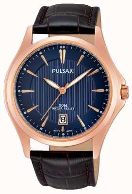 Pulsar Mens braunes Lederarmband blaues Zifferblatt PS9388X1