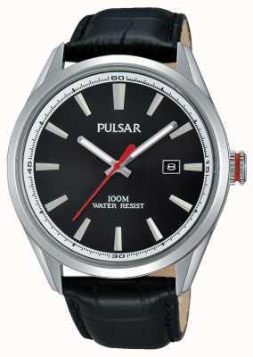 Pulsar Gents schwarzes Lederband Zifferblatt schwarz PS9375X1