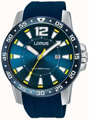 Lorus Gents blauen Kautschukarmband blaues Zifferblatt RH935FX9