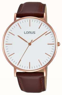 Lorus Gents braunes Lederband weißes Zifferblatt RH880BX9
